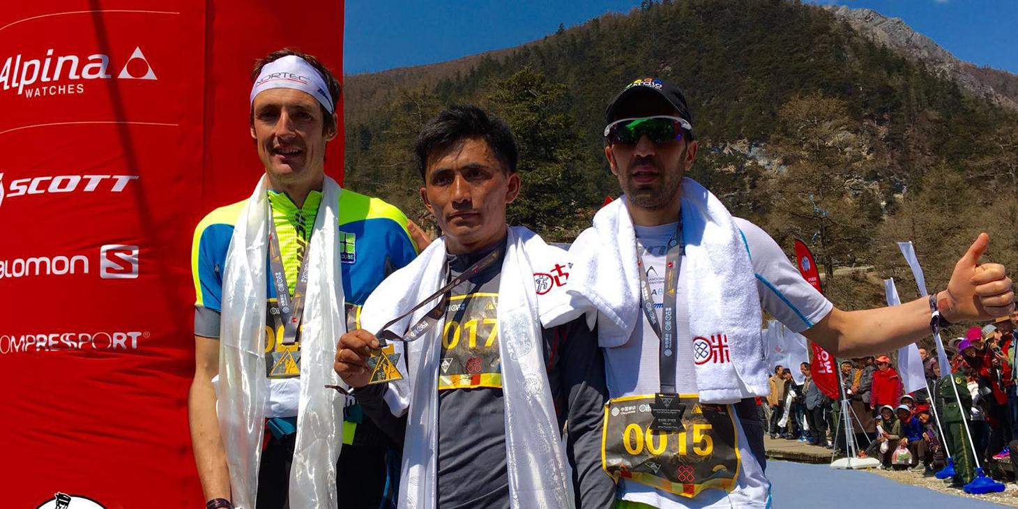 Men's podium. Tadei Pivk 2nd, Gurung 1st, Marc Casal Mir 3rd. ©Skyrunner® World Series