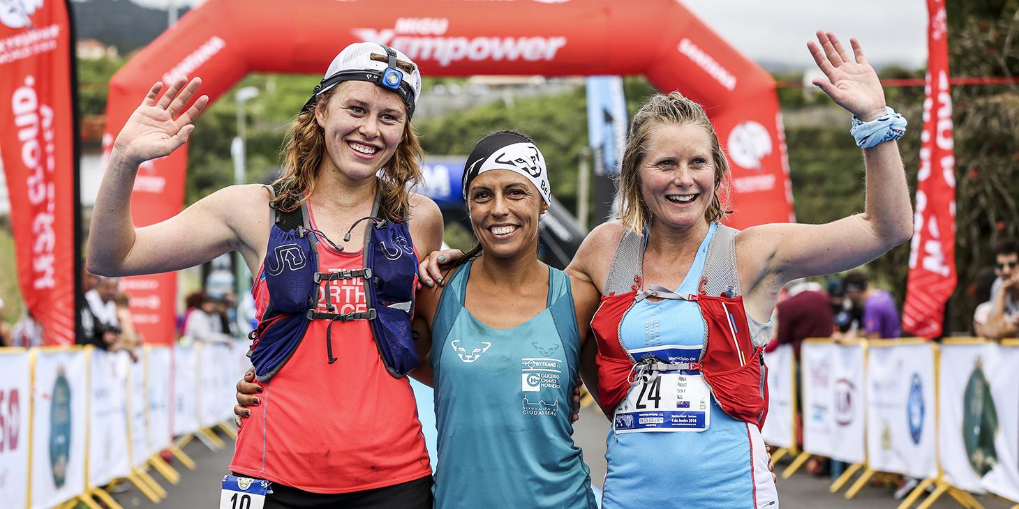 Women's podium: Hillary Allen, Gemma Arenas and Anna Frost. © Ian Corless / SWS