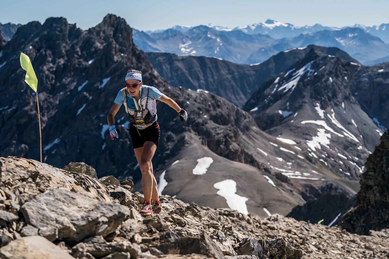Maite Maiora, Livigno SkyMarathon race winner, pushing on the ascent. ©iancorless.com / SWS