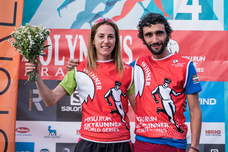 Ragna Debats and Aritz Egea, race winners and new record holders, Olympus Marathon. ©iancorless.com SWS