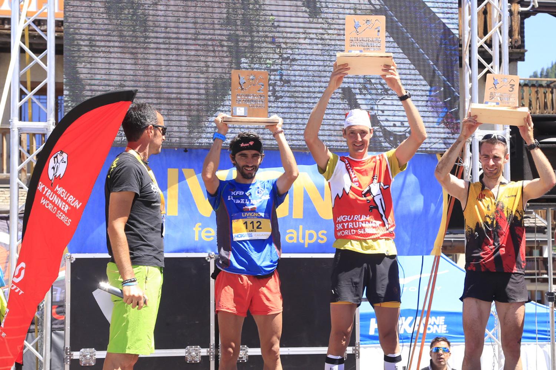 Winners of the Livigno SkyMarathon, Aritz Egea, Tadei Pivk, Eduardo Hernandez. ©Giacomo Meneghello