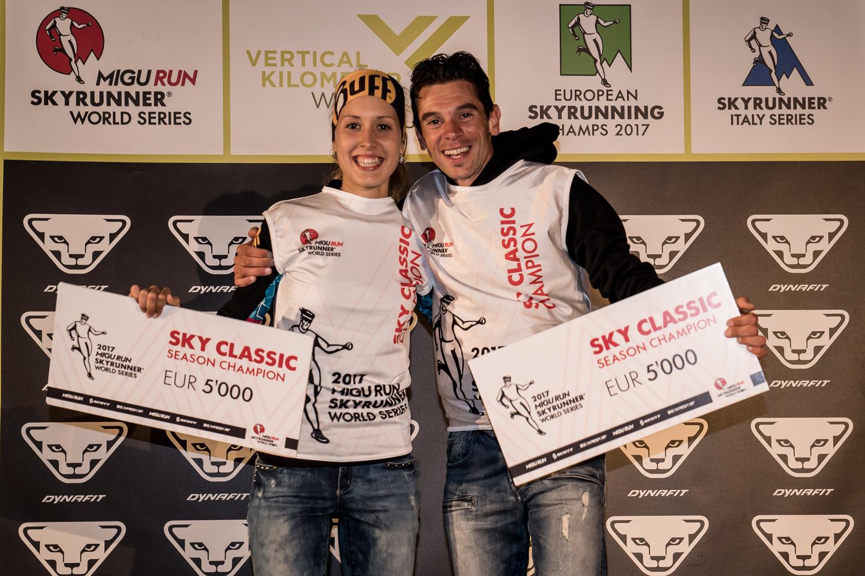 Sheila Avilés and Marco De Gasperi, Sky Classic winners, 2017 Migu Run Skyrunner World Series. ©iancorless.com / SWS