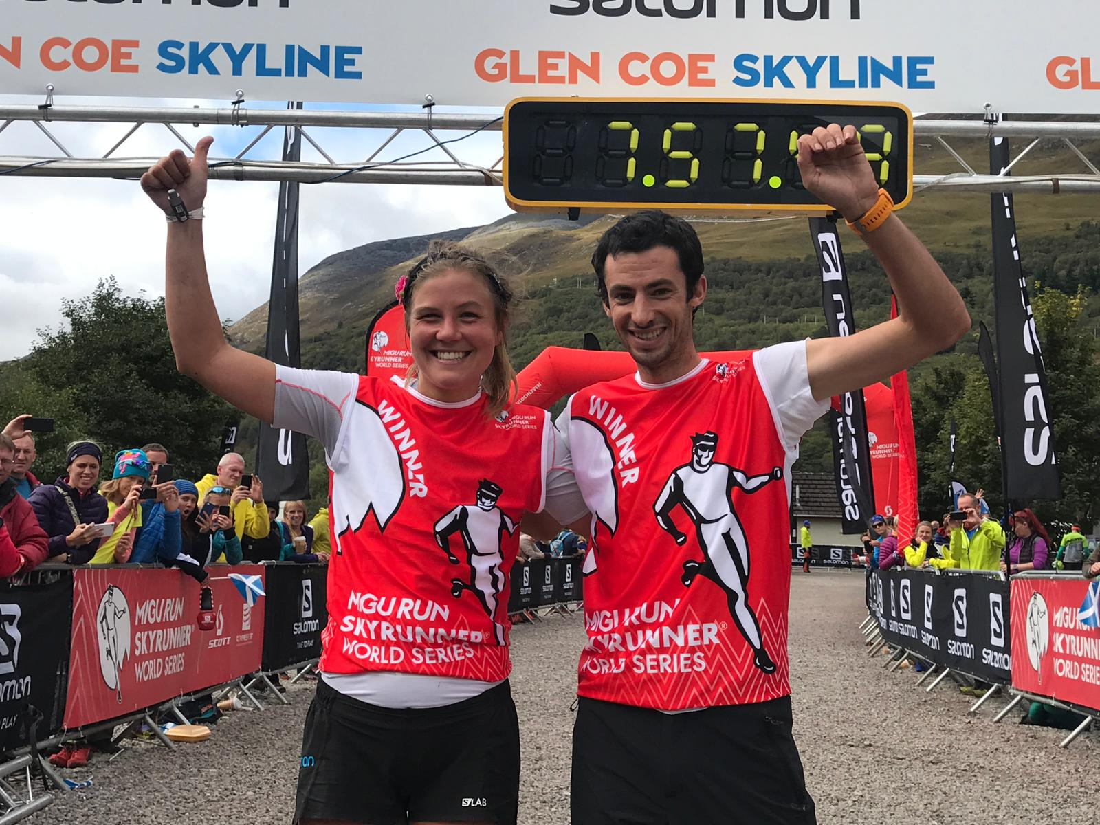 Emelie Forberg and Kilian Jornet in the Migu Run Skyrunner World Series Winner's bib